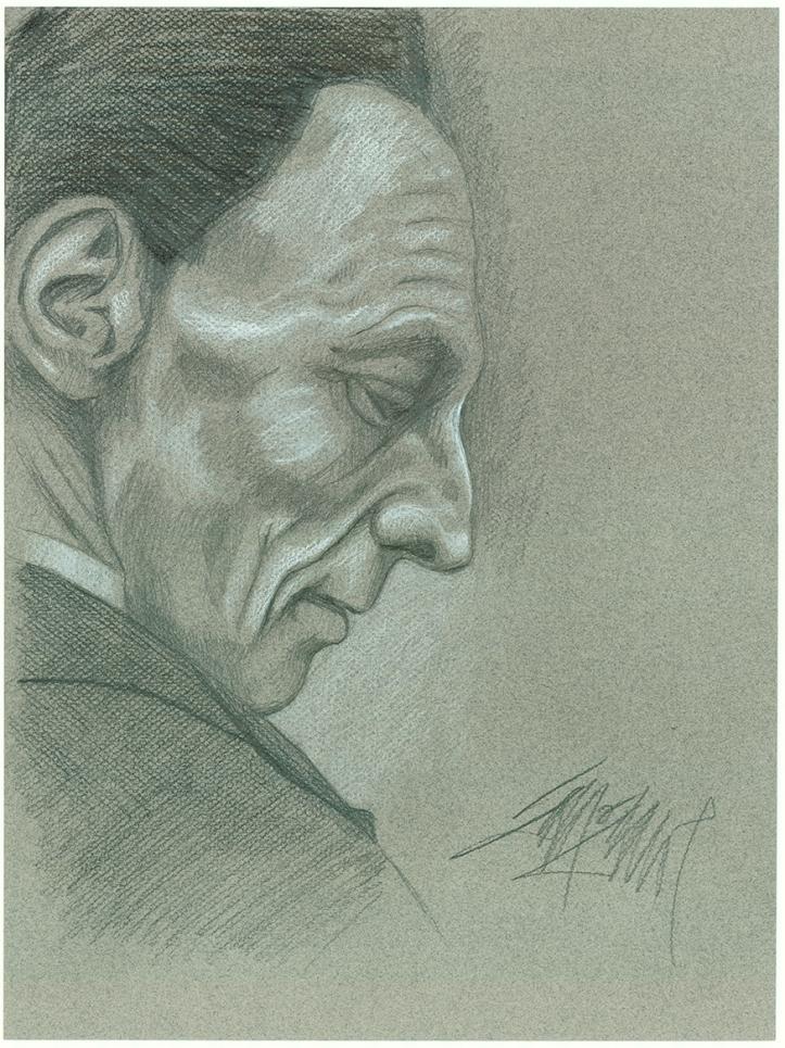 Death by James Simon - Graphite & White Pencil on toned paper