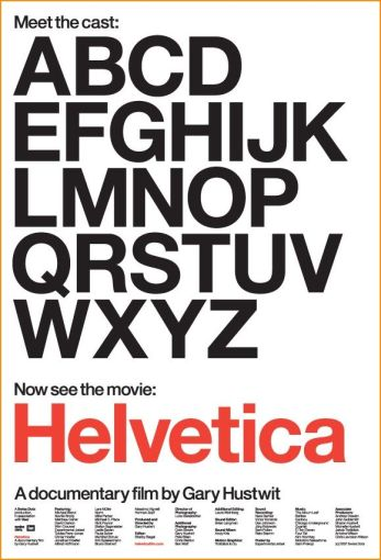 "Movie poster for the documentary ""Helvetica"""