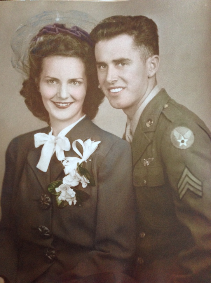 Mary Marjorie Hunt & Edward James Miller - Their Wedding Photo September 28, 1943 . They are both 20 years old.