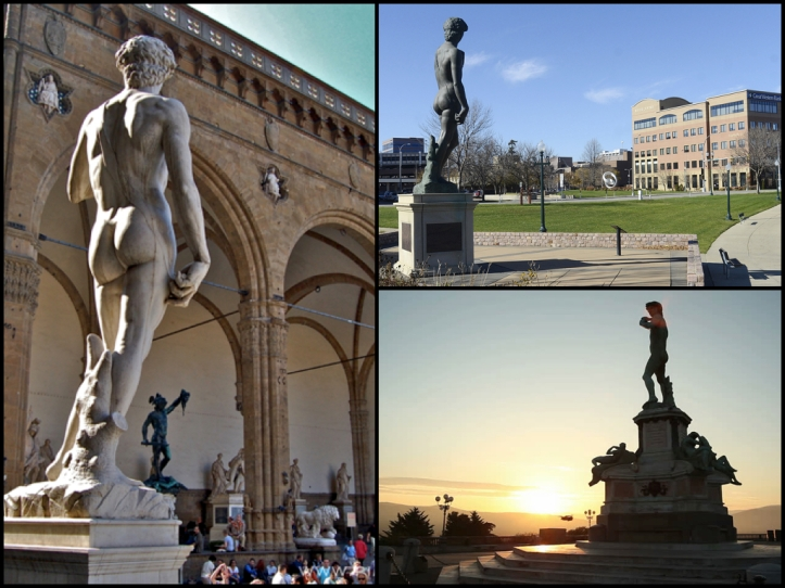 3 copies of the original David. On the left, the one that now stands in front of Signora. On the right 2 of only a handful of bronze copies made from the original. Sioux Falls, SD and the Piazalle Michelangelo overlooking Florence. The Piazalle is a beautiful spot that gives an amazing view of the city.