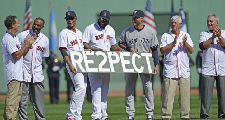 Derek Jeter with stars from the Boston Red Sox at his last visit to Fenway Park. Even his rivals respected him.